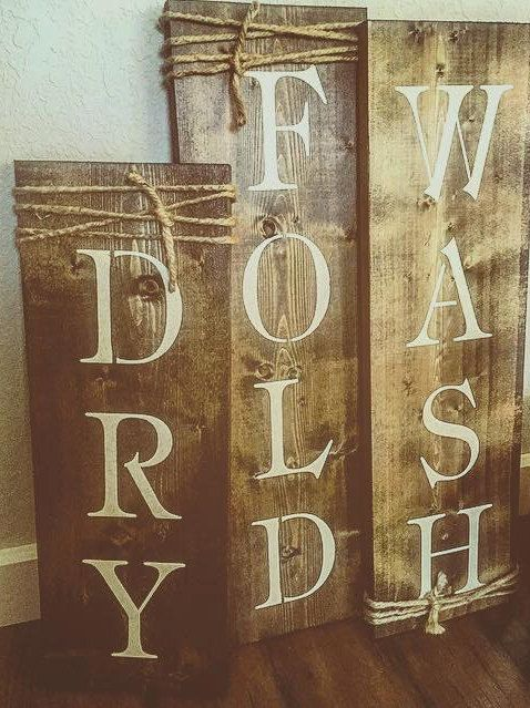 Wash, Dry, Fold, Set of 3, Rustic Signs, Laundry Room Decor, Bathroom Decor, Wood Plaque, Rustic Decor by The2ndLook on Etsy