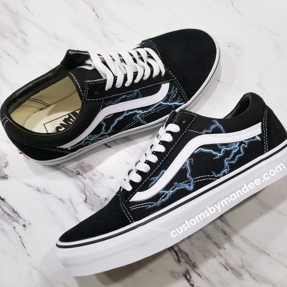 Democracia Rechazar ciervo  Lightning Custom Vans Old-Skool Sneakers | Vans shoes fashion, Vans shoes  old skool, Hype shoes