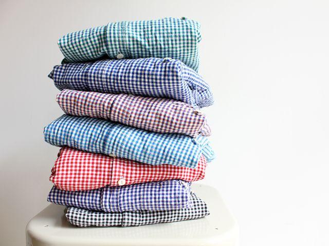 晴れ maillot sunset gingham work shirts MAS-004 color blue , b...