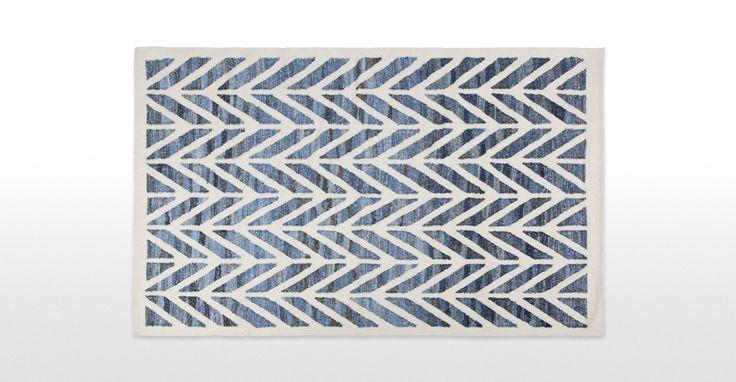 Laren Hand Woven Rug 160 x 230cm, Denim Blue | made.com
