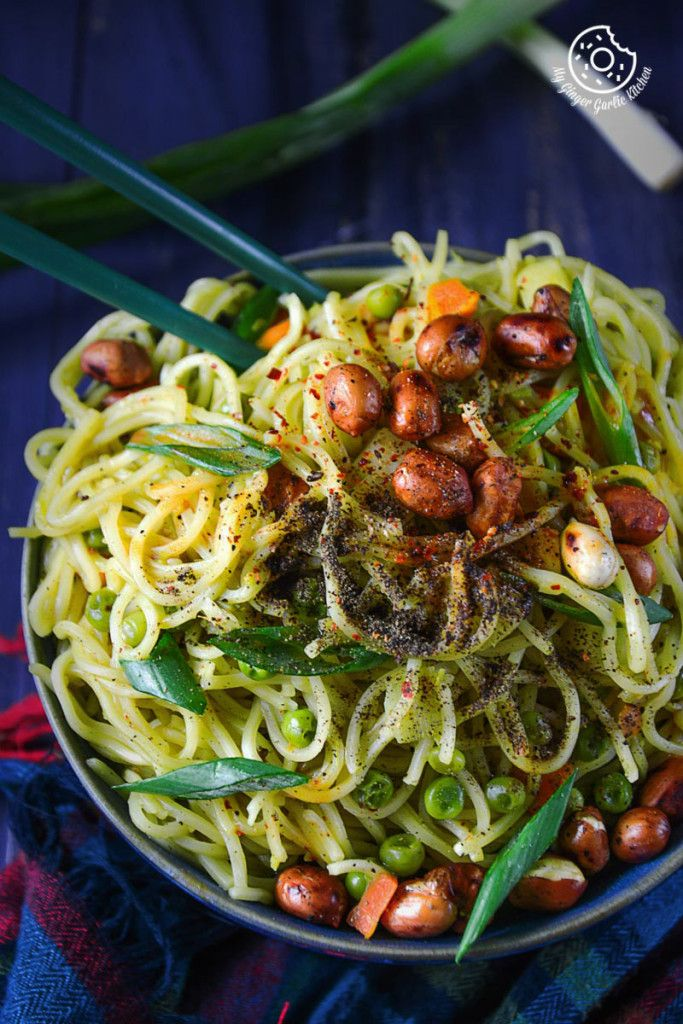 15 minutes No Oil Green Thai Curry Chow-Mein #Noodles! #healthy #summer #dinner