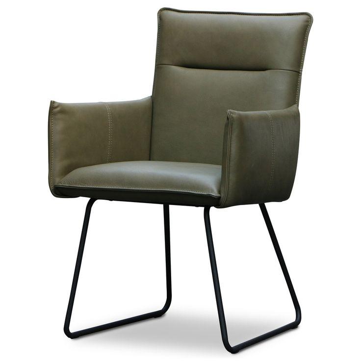 Design armstoel leer zwart frame Tormes Groen #vintagestoel #industrieel #interior #interieur