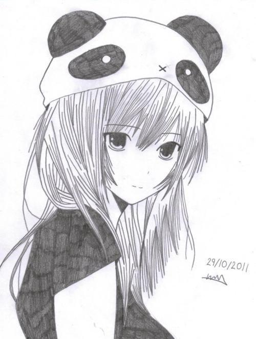 Kawaii Girl vestida de panda ^^