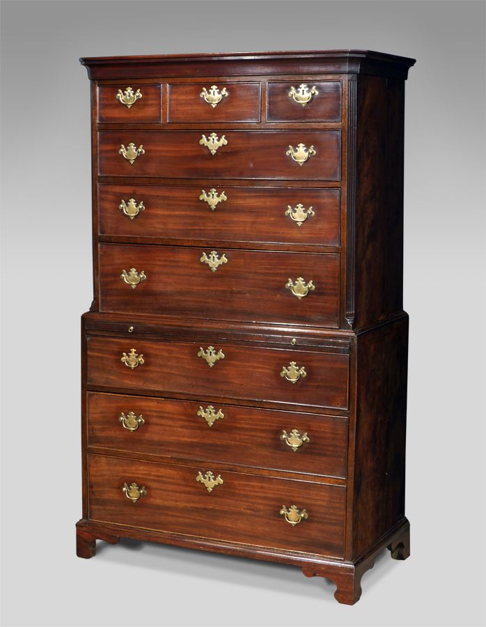 Recent purchases now in - George III mahogany chest on chest with fluted canted corners. Moulded cornice over the top section of three short and three long beaded drawers. The base section with a further three drawers and raised on shaped bracket feet. Fitted with original brass plate handles.  circa. 1770