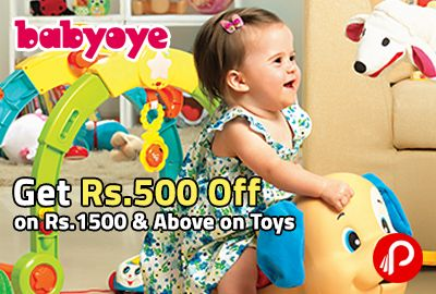 BabyOye offers Rs.500 Off on Rs.1500 & Above on Toys. Offer not valid on discounted products. Coupon Code – TOYS500  http://www.paisebachaoindia.com/get-rs-500-off-on-rs-1500-above-on-toys-babyoye/
