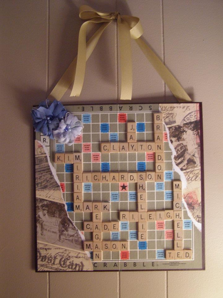 Cool Scrabble Art, great gift idea for Moms & Grandma's