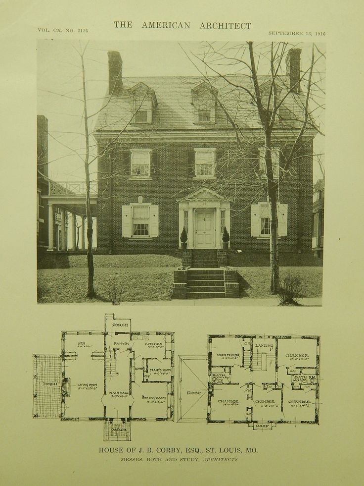 House of J. B. Corby, Esq., St. Louis MO, 1916. Roth and Study. Lithograph