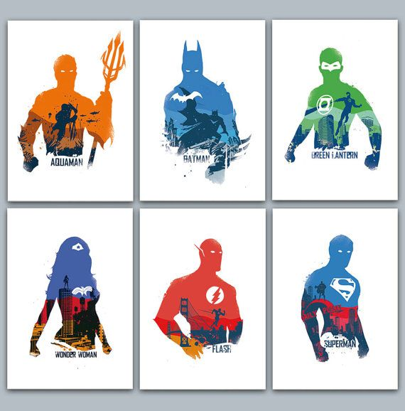 Justice League Poster Set 6 prints included by 2ToastDesign