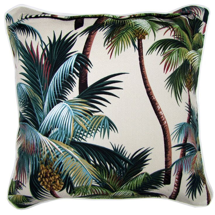 tropical cushion - fun summer prints look for palm trees, flamingos, corals, we can source the fabric, get them made up with contrast piping in a few shapes and retail for £35 with our label on.