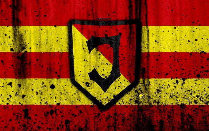 Download wallpapers FC Jagiellonia, 4k, grunge, Ekstraklasa, logo, football club, Poland, Jagiellonia, soccer, art, stone texture, Jagiellonia FC