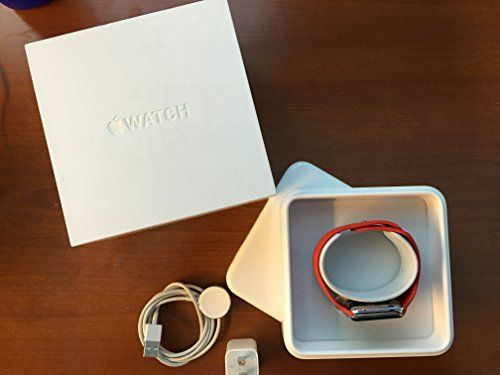 Apple Watch Sport 42mm Stainless Steel Case with Red Sport Band     Gender: Gender Neutral   Operating System: Watch OS   Screen Size: 42.000   Wired Connectivity: USB   Includes: Cleaning Cloth, Wall Charger   Battery req