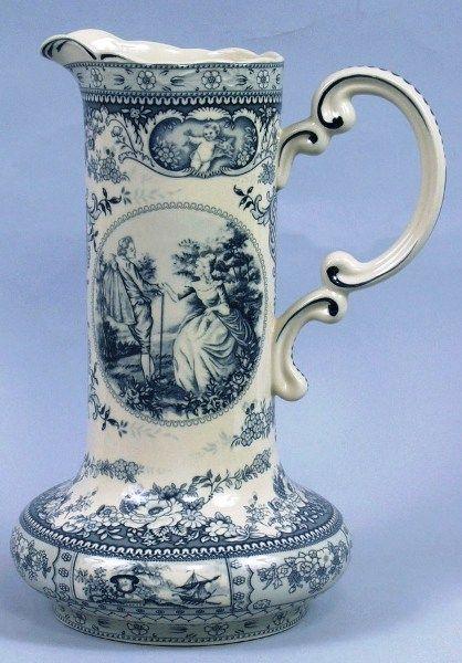 Blue Romantic Victorian Toile Pitcher Vase