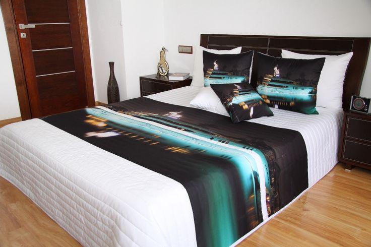 Čierno biely prehoz na posteľ s motívom loď