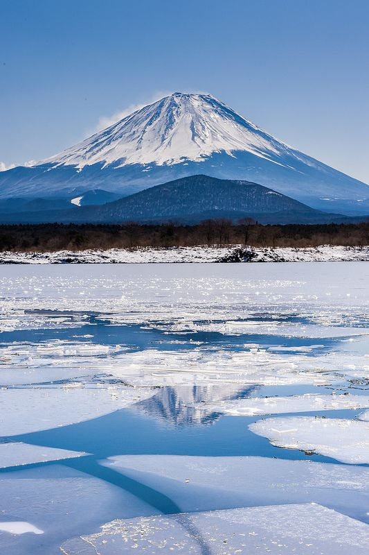 Mount Fuji in the ice, Lake Shoji, Yamanashi, Japan