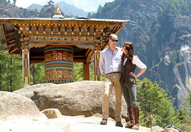 Prince William, Duke of Cambridge, and Catherine, Duchess of Cambridge, hike to Paro Taktsang, the Tiger's Nest monastery, on April 15, 2016, in Paro, Bhutan