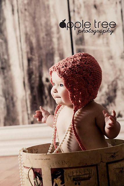 Ravelry: Lacy Shells Baby Bonnet pattern