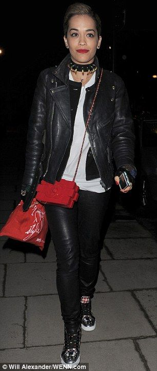 Big fan: Rita Ora can't get enough of the Lego clutch, she has worn her red version twice in the past week