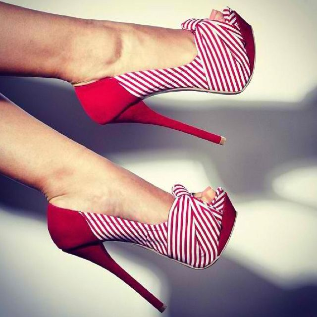 Hot or what: red nautical style stilettos #shoes #style #pinterest....GIMME A SAILOR AND WE'LL TALK!