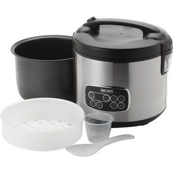 Aroma Professional Digital Stainless Steel Rice Cooker, Slow Cooker and Food Steamer