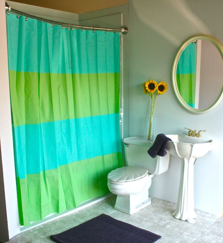 Bathroom  Terrific Images Of Bathroom Remodel Plus Two Tone Green Blue Simple Bathroom Curtain Mixed With White Interiors Also Round Wall Mirrors Plus White. 78 Best images about Curved Shower Curtain Rods on Pinterest