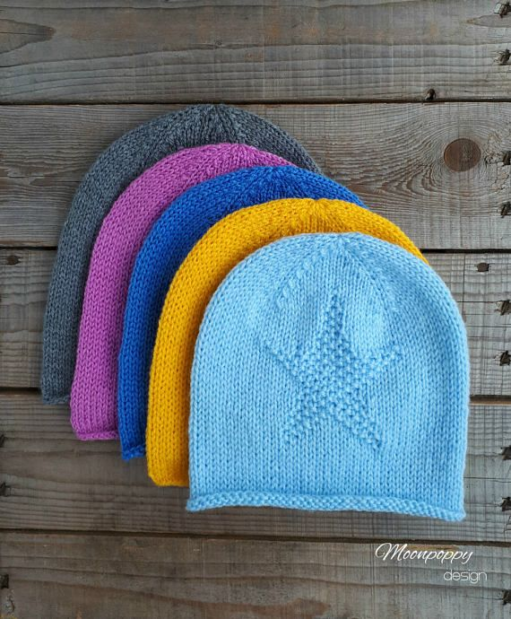 Hand Knit Slouchy Hat Star Hat Slouchy Beanie Spring