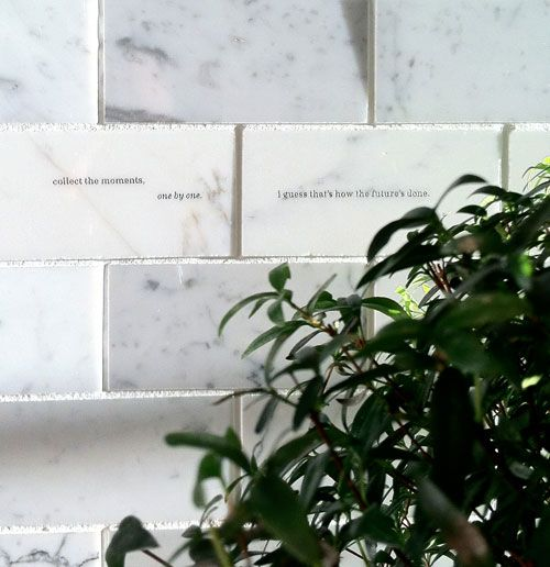 feist engraved tiles?! aw!Backsplash Tile, Kitchens Wall, Marbles Backsplash, Laser Etchings Engraving, Kitchens Tile, Personalized Details, Ideas Personalized, A Quotes, White Kitchens