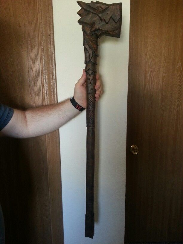 A carved war hammer I made.