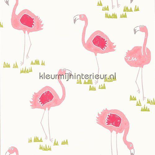 Felicity Flamingo behang 111277 uit de collectie Guess Who van Scion is verkrijgbaar bij kleurmijninterieur