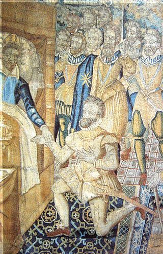 "Henry III of France on his deathbed designating Henry IV of Navarre as his successor (1589)   Anonymous 16th century tapestry - ""Catherine de Medicis et Henri III"" Historia"