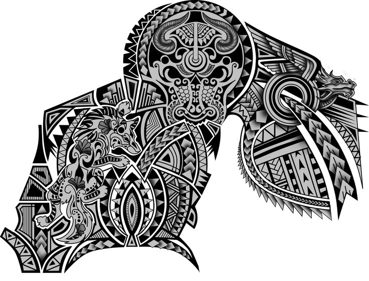 Polynesian Maori Tribal Half Sleeve Chest Wolf Dragon Bull Tattoo Design. Designer: Andrija Protic