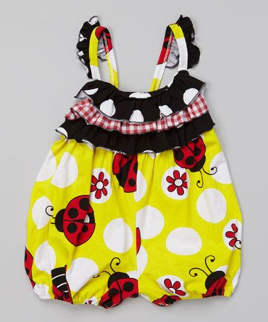 Inspiration - Love this Yellow Ladybug Ruffle Bubble Romper - Infant on #zulily! #zulilyfinds