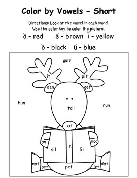 christmas color by vowels short 4 total short vowel reading practice santa a reindeer. Black Bedroom Furniture Sets. Home Design Ideas