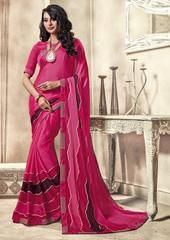Pink Color Crepe Georgette Kitty Party Sarees : Sharnam Collection YF-64298