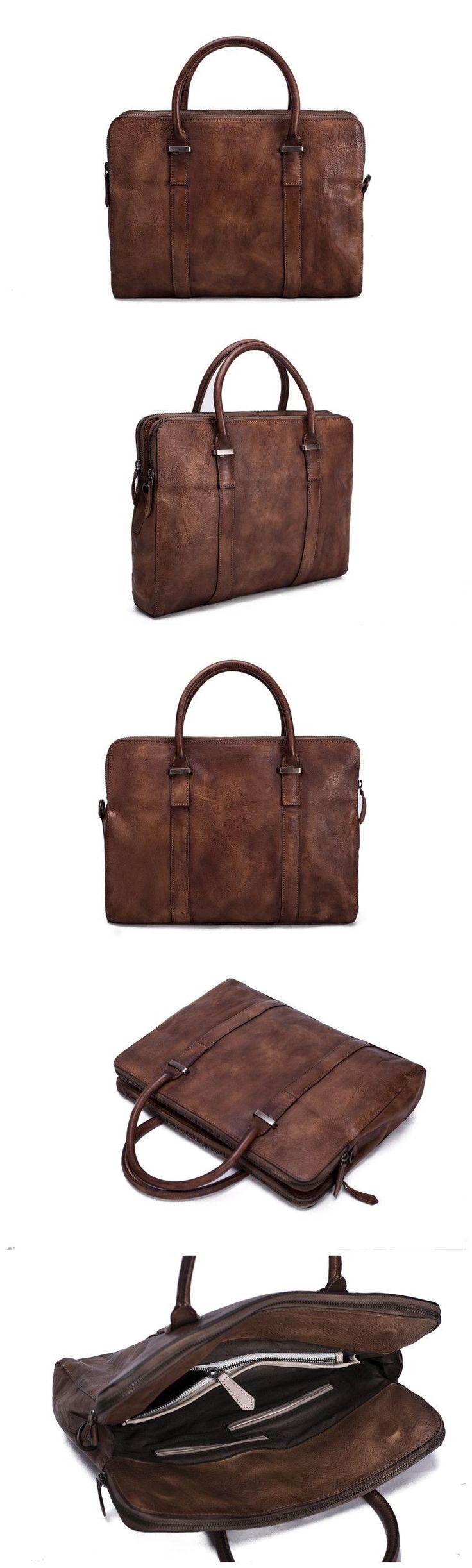 Laptop Bag Vintage Vegetable Tanned Leather Briefcase Messenger Bag