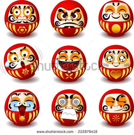 Daruma doll, Daruma, Dharma doll, Dharma, round, Japanese traditional doll, Bodhidharma, zen, bearded man, good luck, symbol of perseverance, popular gift, encouragement, temples, monk, meditation.  - stock vector