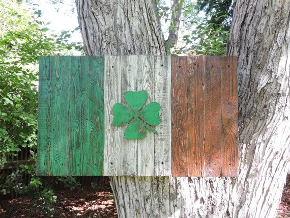3D Rustic Distressed Irish Flag, Emerald isle, Republic of Ireland, Shamrock, 4 leaf clover, reclaimed wood, handmade, weathered, wall art by CraigMoodieDesigns