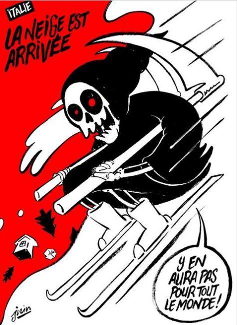 Certo che questo settimanale satirico francese non ha altro da fare.. aspettando e giocando con delle vignette sulle disgrazie altrui..