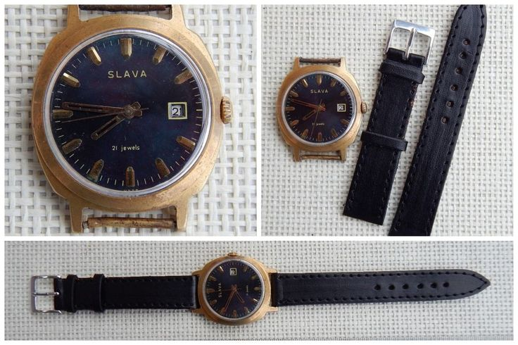 USSR Russian SLAVA Mechanical Watch AU20 Gold Plated Gilded Vintage, 1980s #Slava #Luxury
