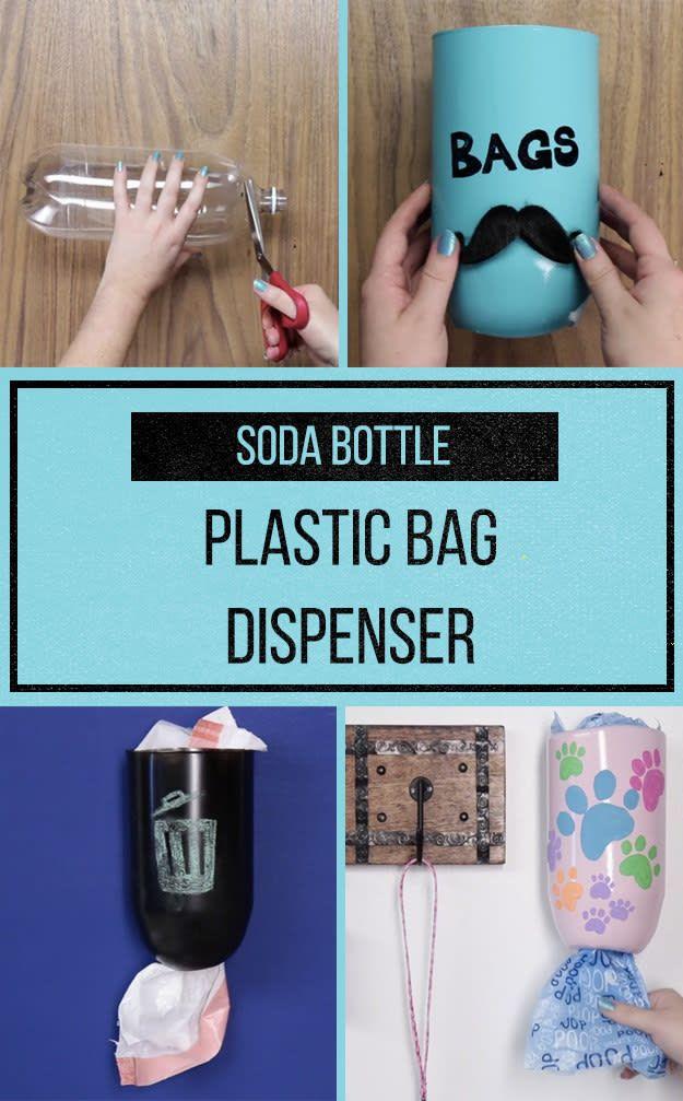 Turn A Two Liter Bottle Into A Pretty Garbage Bag Dispenser Diy