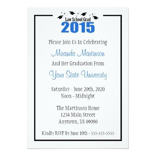 law school 2015 graduation invite blue caps 5 x 7 invitation card - Law School Graduation Invitations