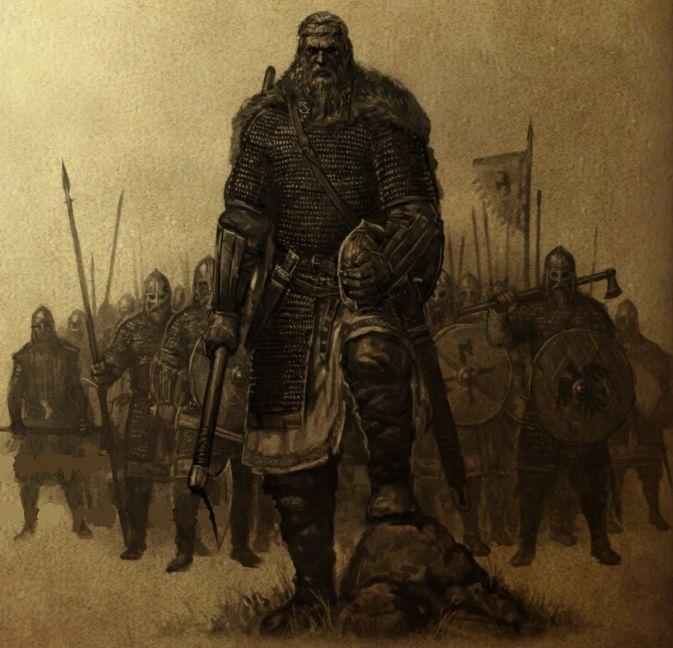 Vallandische Krieger aus dem Stamm der Aeglier. Die Vallander unterteilen sich in vier Stämme: Aeglier, Freden, Godren und Veidaren