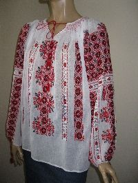 Red and black Romanian blouse / totally hand embroidered and hand sewn