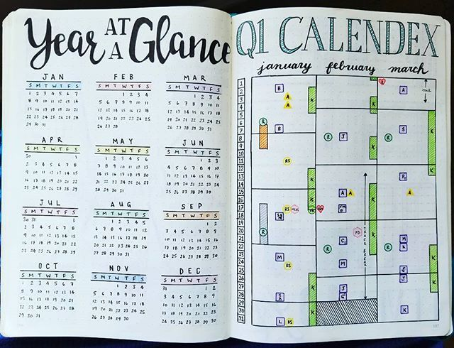 Year at a Glance and Quarter 1 Calendex - 2017  Finally got the Calendex set up for the next three months! A quick glance to see what is scheduled or coming up! This is replacing my Future Log that I used last quarter. We will see how it does. . . .  #bujojunkies #bujo #bulletjournal #bullet #journaling #journal #tracker #habittracker #bujotracker #planwithme #planwithmechallenge #weightloss #weighttracker #dailytracker #leuctturm1917 #bulletjournallove #bohoberrytribe…