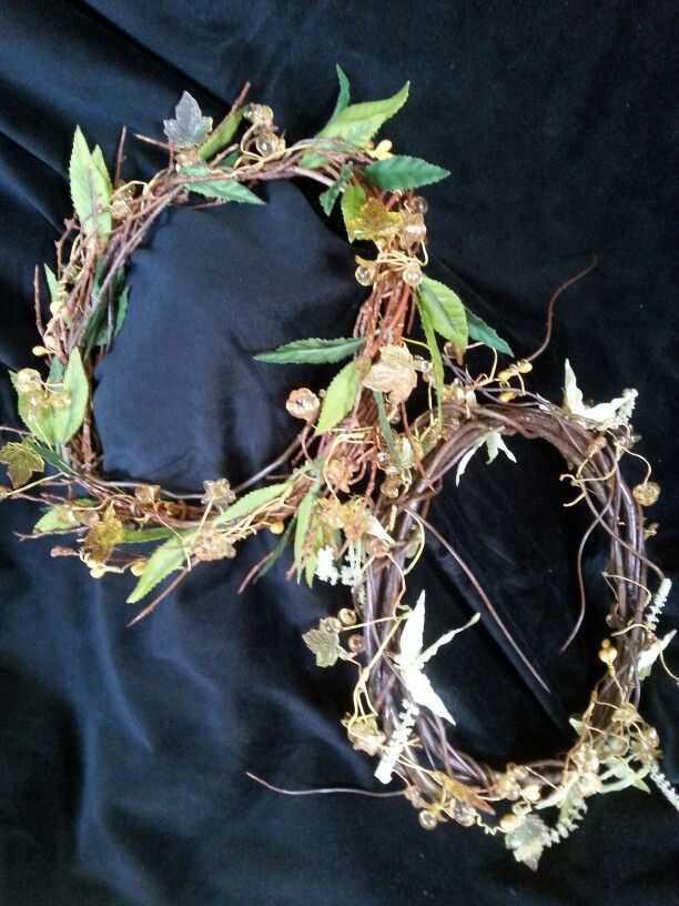 OBERON & TATANIA wreaths.  Twigs and delicate foliage entwined with crystalline leaves and beads. Perfect for hand fasting,  ceremonies and balls. $35