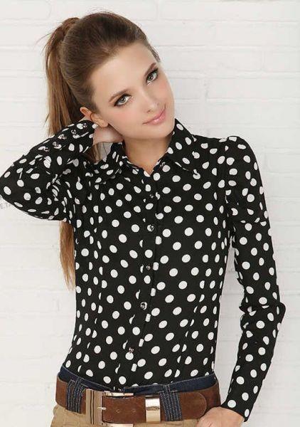 Купить черная блузка в горошек