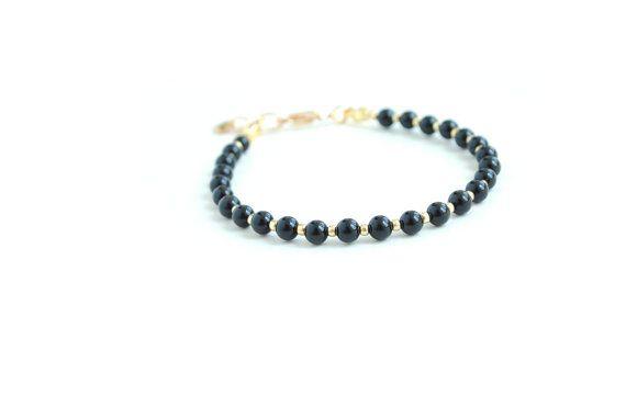 Black bracelet onyx bracelet friendship bracelet by elfinadesign