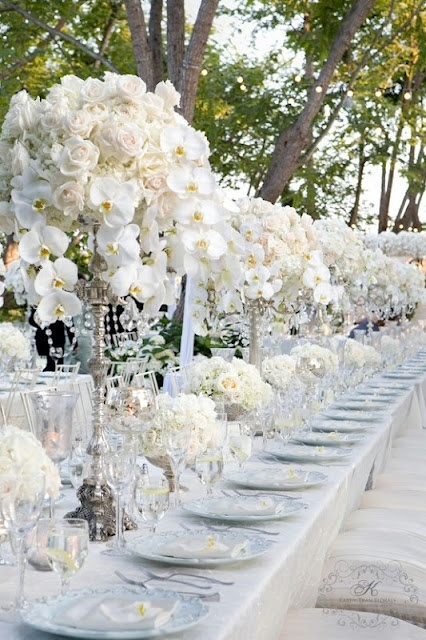Wedding Tables, Ideas, White Flower, Tables Sets, White Wedding, White Rose, Wedding Reception, Centerpieces, Long Tables
