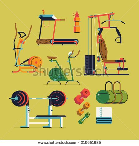 Fitness gym exercise equipment and items vector flat design illustrations. Featuring weight bench, treadmill, stationary bike, sport bag and more. Ideal for sport and fitness infographics - stock vector