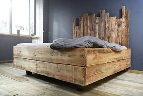 Bauholz Bett Cadanel schwebend Eisenfüße 180x200cm