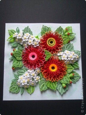 Картина, панно Квиллинг: Тема цветов всегда актуальна Бумажные полосы День рождения. Фото 1